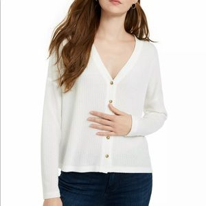 Hippie Rose Ivory V Neck Long Sleeve Casual Top